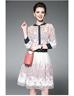 Kadın Uzun Kol Yuvarlak Yaka Yaz Çiçekli Çağdaş Günlük Kadın Bluz Etek Suit