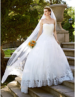 LAN TING BRIDE A-라인 웨딩 드레스 오픈백 바닥 길이 끈없는 스타일 레이스 튤 와 레이스