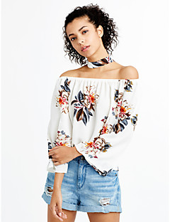 Women's Off The Shoulder|Choker|Boho Going out Casual/Daily Sexy Vintage Spring Fall T-shirtFloral Boat Neck Backless Off-The-Shoulder Long Sleeve