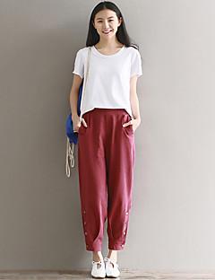 Femme simple Taille Haute strenchy Chino Pantalon,Ample Sarouel Couleur Pleine