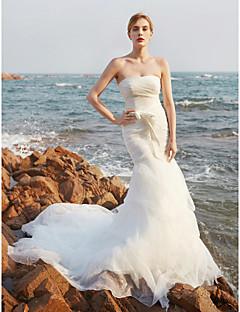 LAN TING BRIDE בתולת ים \ חצוצרה שמלת חתונה - אלגנטי ויוקרתי פתוח בגב שובל קורט סטרפלס אורגנזה עםבד נשפך בצד פפיון מכווץ למעלה קפלולים