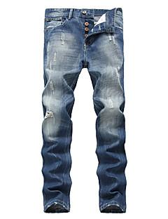 Homme simple Street Chic Taille Normale Haute élasticité Ample Jeans Pantalon,Large Ample Toile de jean Couleur Pleine