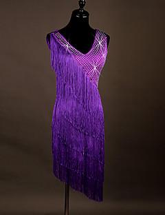 Latin dance dresses kadın performans spandex organza crystal / rhinestones
