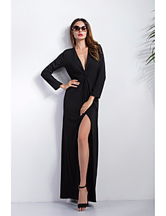 Women's Beach Party Holiday Sexy Vintage Sheath Dress,Solid Deep V Maxi Long Sleeve Cotton Spring Fall Mid Rise Micro-elastic Medium
