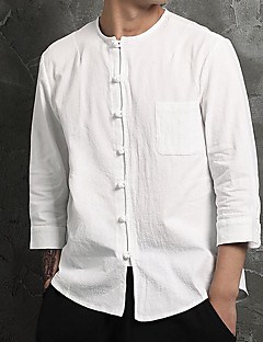 Men's Casual/Daily Simple Chinoiserie Spring Fall Shirt,Solid Round Neck Long Sleeves Cotton Linen