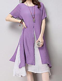 여성 루즈핏 드레스 귀여운 솔리드,라운드 넥 맥시 짧은 소매 면 여름 높은 밑위 약간의 신축성 중간