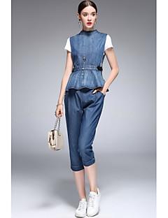 Kadın İnelastik Kesilmiş Pant Yuvarlak Yaka İlkbahar Yaz BasitKadın Gömlek Pantolon Suit