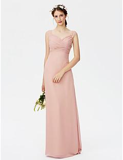 Ίσια Γραμμή Μακρύ Σιφόν Φόρεμα Παρανύμφων με Δαντέλα Χιαστί με LAN TING BRIDE®