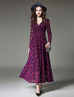 Damen Hülle Spitze Swing Kleid-Ausgehen Party/Cocktail Anspruchsvoll Patchwork V-Ausschnitt Maxi Langarm Polyester Frühling HerbstHohe