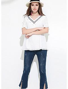 Dames Eenvoudig T-shirt,Dagelijks Effen Ronde hals Korte mouw Katoen