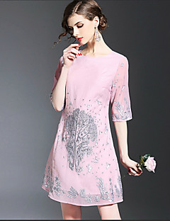 Kadın Dışarı Çıkma Günlük/Sade Sevimli Salaş Elbise Nakışlı,½ Kol Uzunluğu Yuvarlak Yaka Diz üstü Polyester Bahar Yaz Normal Bel Esnemez