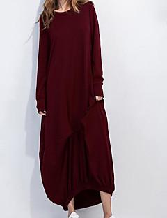Γυναικείο Καθημερινά Απλό Φαρδιά Φόρεμα,Μονόχρωμο Μακρυμάνικο Στρογγυλή Λαιμόκοψη Μακρύ Βαμβάκι Καλοκαίρι Κανονική Μέση Ανελαστικό Λεπτό
