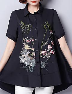 Damen Tierfell-Druck Einfach Street Schick Chinoiserie Lässig/Alltäglich Übergröße Hemd,Hemdkragen Sommer Kurzarm Andere