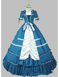 Jednodílné/Šaty Gothic Lolita Lolita Cosplay Lolita šaty Modrá Retro Krátký rukáv Short / Mini Šaty Pro Ostatní