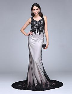 TS Couture ערב רישמי שמלה - בלוק צבע בתולת ים \ חצוצרה המלכה אן שובל קורט תחרה טול עם חרוזים אפליקציות