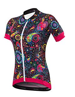 חולצת ג'רסי לרכיבה בגדי ריקוד נשים שרוול קצר אופניים ג'רזיייבוש מהיר עיצוב אנטומי עמיד אולטרה סגול חדירות ללחות נושם רוכסן YKK רצועות