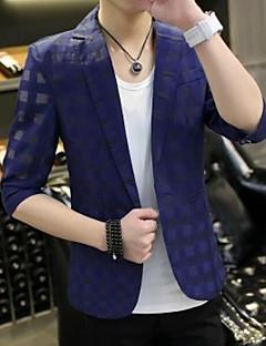Erkek Polyester Çentik Yaka Yaz Solid Basit Günlük/Sade Normal-Erkek Blazer