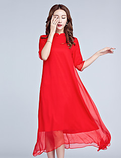 Damen Chiffon Kleid-Alltag Solide Ständer Midi ½ Länge Ärmel Polyester Sommer Hohe Hüfthöhe Unelastisch Dünn