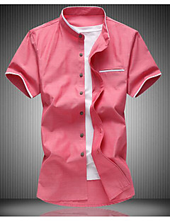 Men's Business Daily Simple Summer Shirt,Solid Stand Short Sleeve Cotton Polyester Medium