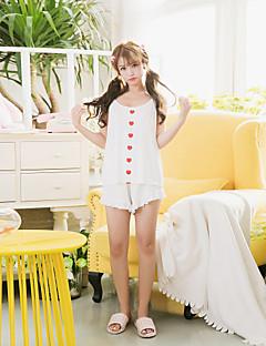 Mulheres de 2 peças de calções terno de dormir terno sem mangas sexy terno de pijama confortável