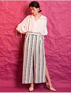 Femme simple Taille haute non élastique Ample Pantalon,Large Rayé