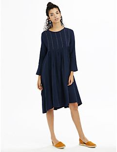 Women's Plus Size / Thin Loose Dress  Round Neck Above Knee Long Sleeve Blue Spring Mid Rise