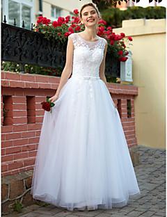 A-라인 바닥 길이 튤 웨딩 드레스 와 비즈 아플리케 버튼 으로 HQY