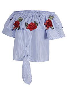 レディース 日常 カジュアル/普段着 夏 Tシャツ,ストリートファッション ボートネック 縞柄 刺しゅう シルク ポリエステル 半袖 薄手