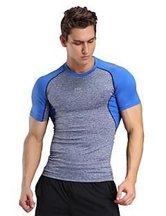 Herre Mann T-skjorte til jogging Kortermet Fort Tørring Pustende Myk Komprimering Bekvem T-Trøye Topper tilCamping & Fjellvandring