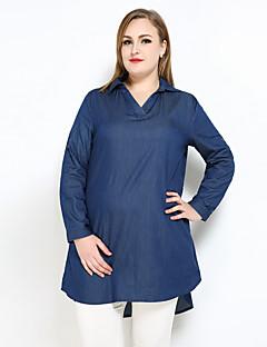 Dames Sexy Vintage Eenvoudig Lente Zomer Overhemd,Casual/Dagelijks Vakantie Grote maten Effen V-hals Lange mouw Katoen Polyester Overige