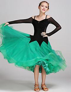 볼륨 댄스 드레스 아동 성능 명주그물 벨벳 드레이프 스플리싱 1개 긴 소매 내츄럴 드레스