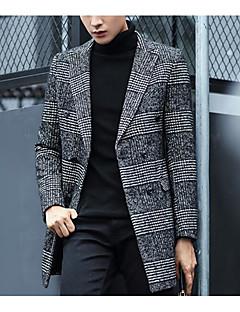 メンズ カジュアル/普段着 冬 コート,シンプル ノッチドラペル 千鳥格子 レギュラー コットン ポリエステル 長袖
