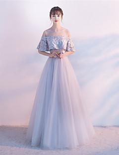 a-lineジュエリーネックフロアレングスチュール卒業式ビーズ入りフォーマルイブニングドレス