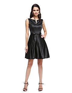 גזרת A וי קטן קצר \ מיני סאטן מסיבת קוקטייל סיום לימודים נשף שמלה עם פפיון(ים) סרט קפלים על ידי TS Couture®