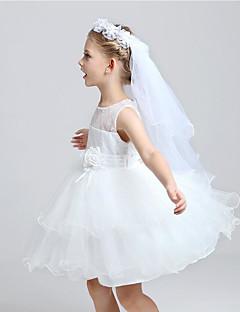 Menyasszonyi fátyol Kétkapcsos Első áldozás fátylak Vágott szegély Tüll