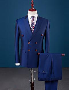 Herren Solide Einfach Lässig/Alltäglich Arbeit Übergröße Anzug,Peter Pan-Kragen Herbst Winter Lange Ärmel Standard Polyester Patchwork