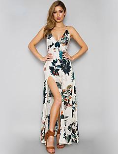 Γυναικείο Αργίες Παραλία Κομψό στυλ street Swing Φόρεμα,Εκτύπωση Αμάνικο Τιράντες Μακρύ Βαμβάκι Καλοκαίρι Κανονική Μέση Μικροελαστικό