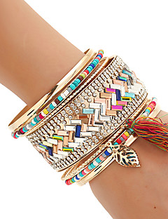 Women's Bangles Cuff Bracelet Wrap Bracelet Rock Handmade Multi Layer Costume Jewelry Fashion Bohemian Mixed Materials Resin Mixed