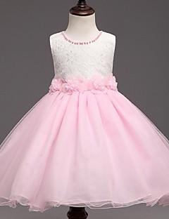 plesové šaty krátké / mini květinové dívčí šaty - organza bez rukávů šperk krk s perlami o ydn