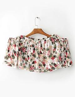 Feminino Camiseta Para Noite Casual Sensual Simples Moda de Rua Verão,Estampado Algodão Sem Alças Manga Curta Fina Média