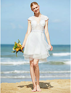 LAN TING BRIDE A-line Wedding Dress - Chic & Modern Little White Dress See-Through Knee-length V-neck Tulle withAppliques Beading Sash /