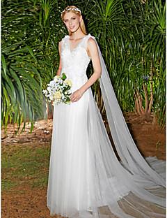 LAN TING BRIDE Linha A Vestido de casamento Vestidos de Casamento com Xale Renda Floral Cauda Escova Decote V Renda Tule comRenda Com