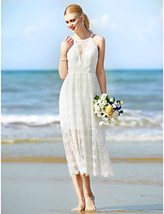 LAN TING BRIDE Sheath / Column Wedding Dress - Chic & Modern See-Through Tea-length Jewel Lace with Lace
