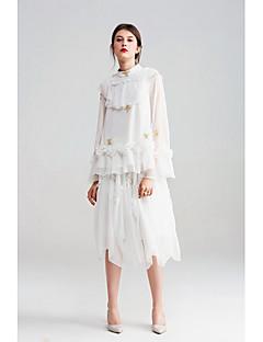 Damen Einfach Niedlich Ausgehen Lässig/Alltäglich Urlaub Midi Röcke Schaukel,Tüll Chiffon Bestickt einfarbig Frühling Sommer