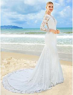 LAN TING BRIDE 트럼펫 / 머메이드 웨딩 드레스 플로럴 레이스 스윕 / 브러쉬 트레인 쥬얼리 레이스 와 레이스 장식주름
