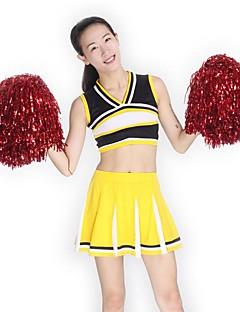 תלבושות למעודדות תלבושות בגדי ריקוד נשים הופעה סריגים שחבור 2 חלקים בלי שרוולים גבוה חצאיות עליוניות