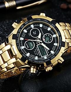 Homens Relógio de Moda Relógio de Pulso Relógio Casual Chinês Quartzo Calendário Dois Fusos Horários Luminoso / Mostrador GrandeAço