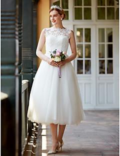 プリンセス セミロング丈 レース チュール ウェディングドレス とともに ボタン サッシ/リボン 〜によって LAN TING BRIDE®