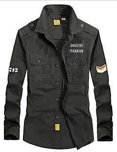 メンズ カジュアル/普段着 シャツ,シンプル シャツカラー ストライプ プリント レタード コットン 長袖
