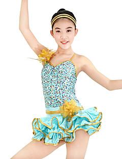 Jazz Vestidos Mulheres Crianças Actuação Elastano Poliéster Lantejoulas Frufru 2 Peças Sem Mangas Caído Malha Collant Vestido Tiaras